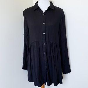 SOLITAIRE Black Button up Tunic Size L